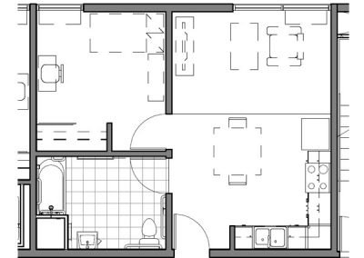1 BEDROOM ADA UNIT- E-H